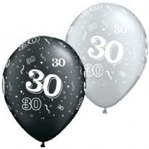 30th Black & Silver - 11 Inch Balloons 25pcs